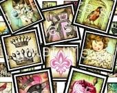 DIGITAL COLLAGE SHEET / digital download / printable images / vintage images / collage sheet / 216 scrabble tile square images