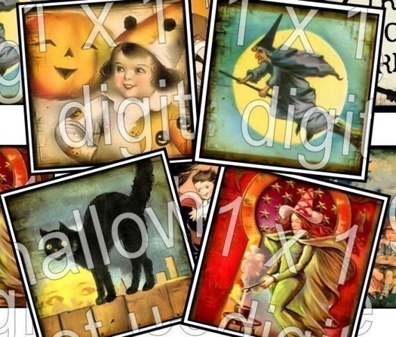 HaLLoWeeN 48 images squares 1 x 1 inchies digital download collage sheet Witch Pumpkin Black Cat Skeleton vintage squares microscope glass slide soldered pendant scrabble tile game piece necklaces jewelry paper supplies altered art