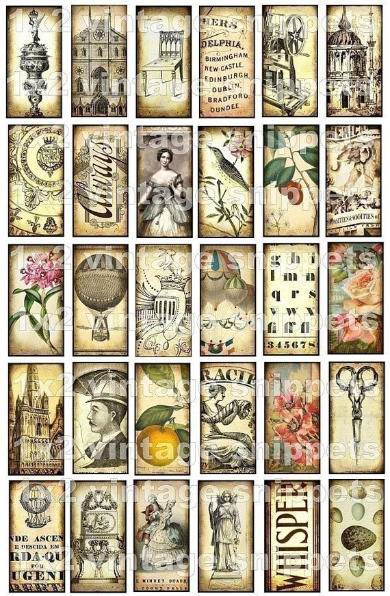 ViNTaGe SNiPPeTs 1 x 2 inch WHiMSiCaL digital collage sheet letters antique scissors castle roses balloons angels fruit altered art ephemera paper supplies domino bamboo tile glass slide jewelry making pendants hang tags scrapbooking download zne sh23