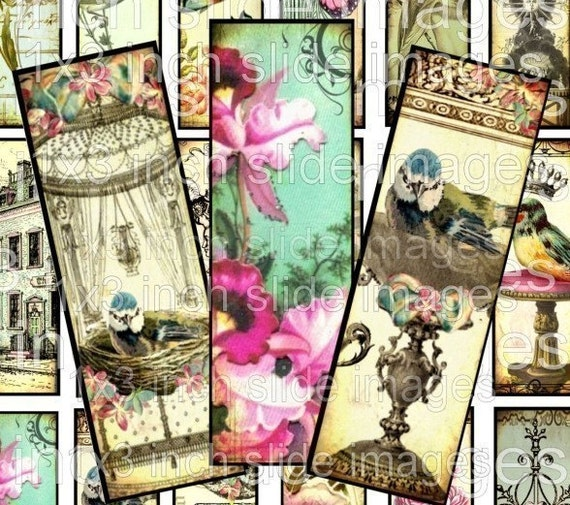 DIGITAL COLLAGE SHEET 1 x 3 inch SuN CeLeSTiaL HoPe BiRDs CRoSS MaRiE aNToiNeTTe RoSeS antique vintage images glass microscope slide soldered pendant game piece tile necklaces jewelry making paper supplies altered art s08