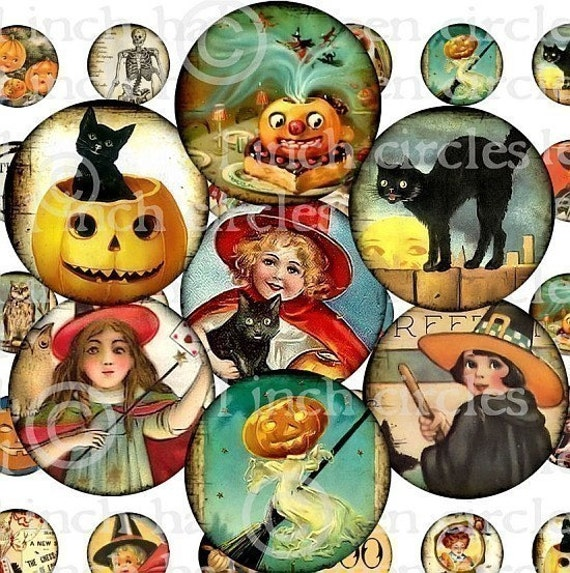 HaLLoWeeN DIGITAL COLLAGE SHEET 1 inch CiRCLeS pumpkin witches jack o lantern black cats owl Vintage Images altered art bottlecaps paper supplies sh5
