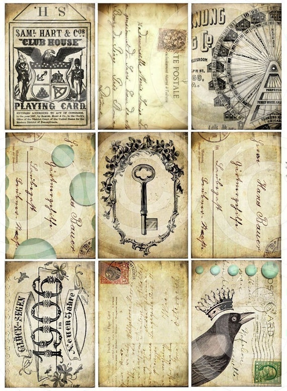 Set of 9 BlackBird CRoWN SKeLeToN KeY CiRCuS CaRNiVaL FeRRiS WHeeL atc aged stained backgrounds antique vintage paper original DIGITAL COLLAGE SHEET altered art hang tags handmade greeting card making supplies hang tags books journals scrapbooking sh1a