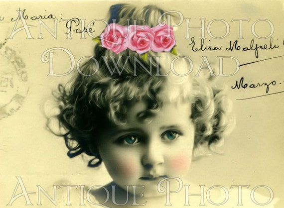 antique PoRTRaiT precious little girl with roses in hair child children digital download scan U PRINT image sheet collage altered art handmade greeting cards atc aceo vintage scrapbooking journals paper craft supplies no.11