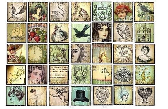 1 x 1 inch block squares Ocean Queen Crown Owls Crow Bird Princess digital collage sheet vintage image tiles s11