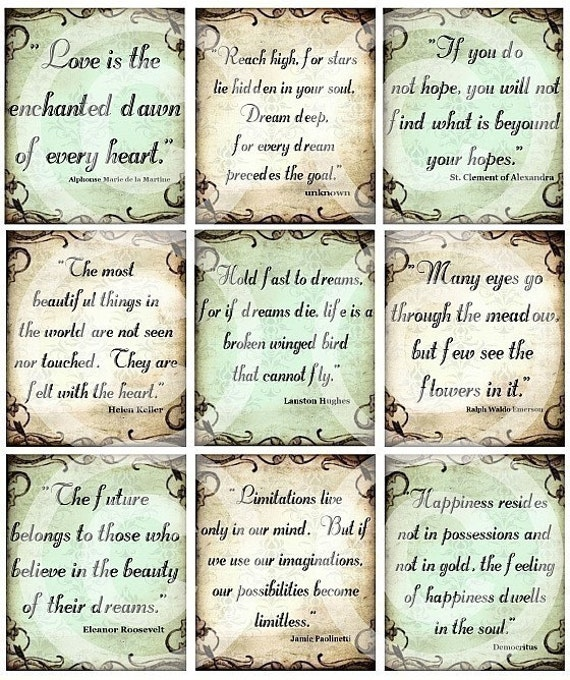 Items similar to SeT of 9 inspirational quotes DIGITAL Collage ...