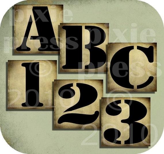ViNTaGe GRuNGe aLPHaBeT LeTTeRs NuMBeRs 1 x 1 inch squares DIGITAL CoLLaGe SHeeT alphabet art supplies