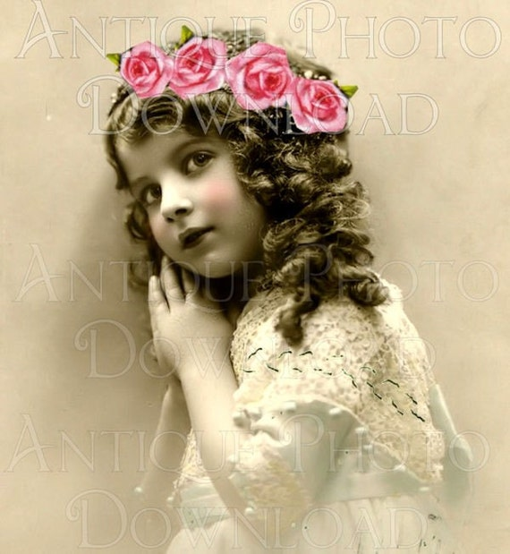 antique PoRTRaiT little girl roses child children digital download scan image sheet collage altered art vintage scrapbooking supplies no.12