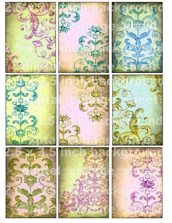 9 PReTTy PaSTeL SCRoLLWoRK backgrounds paper digital collage sheet download pink green stamping flourish atc s26