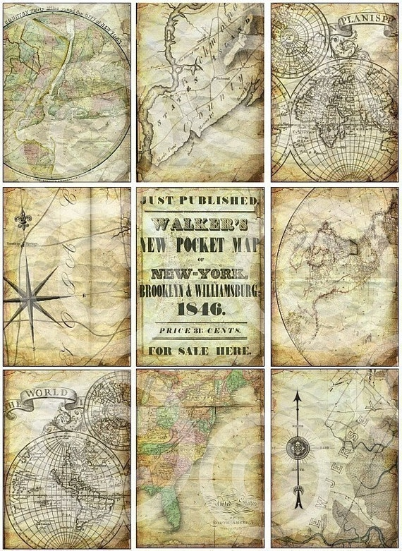 SaLVaGeD MaPs DiGiTaL CoLLaGe SHeeT atc backgrounds antique vintage ephemera paper scrapbooking supplies