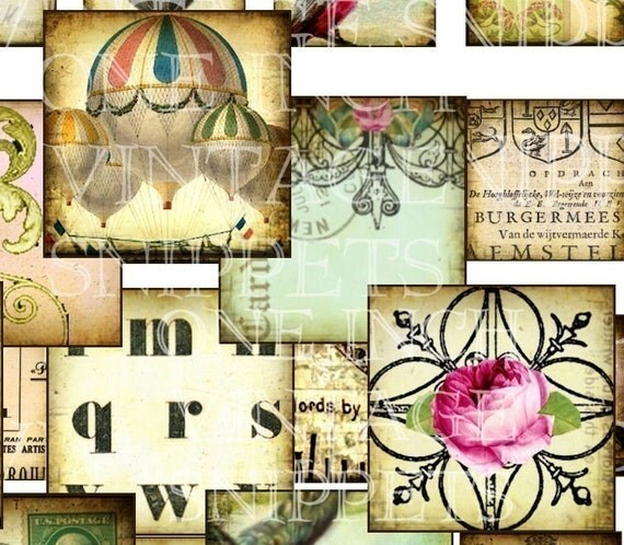 ViNTaGe SNiPPeTs 1 x 1 inch sqaures digital collage sheet images HoT AiR BaLLooN BiRDS FLoWeRs MaRie ANToiNeTTe CRoWNs CRoSSeS CaT altered art soldered clear glass charms microscope slides s14