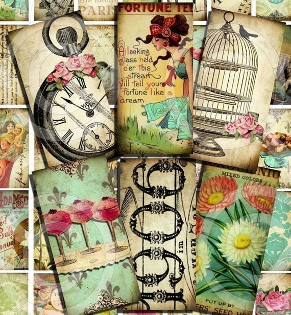 WHiMSiCaL 1 x 2 inch vintage designs Digital Collage Sheet U-PRINT Domino Size images microscope clear glass rectangles slide soldered pendant altered art scrapbooking jewelry making supplies sh1a