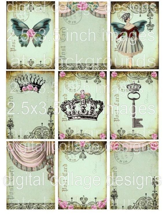 Crowns DIGITAL COLLAGE SHEET digital sheet vintage images digital paper printable hang tags gift tags s23