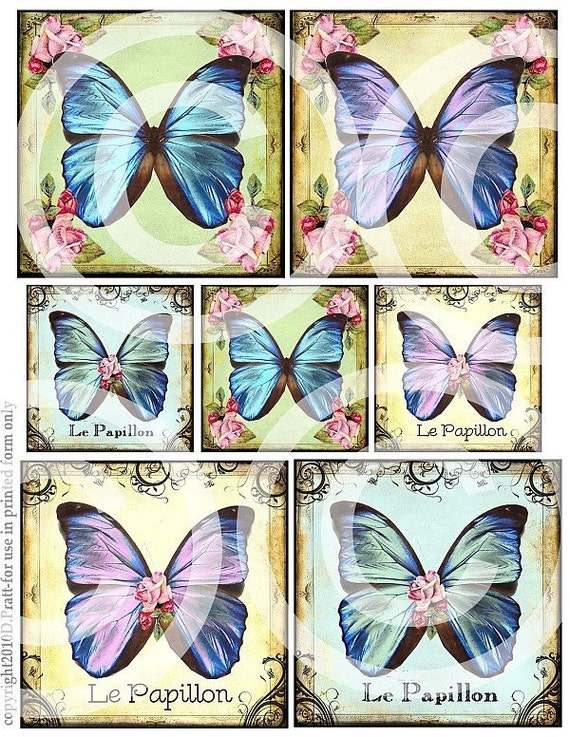 Le PaPiLLoN BuTTeRFLieS PRINTABLE DIGITAL CoLLaGe SHEET image blocks antique postcards vintage paper altered hang tags scrapbooking