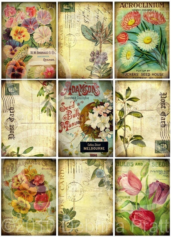 SeT of 9 GaRDeN FLoRaL DESIGNS DIGITAL Collage Sheet download