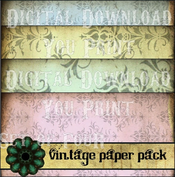 ViNTaGe PaPeR PaCK SeT of 4 Antique Wallpaper large background original DeSiGNs DIGITAL CoLLaGe SHEET download kit scrapbooking supplies