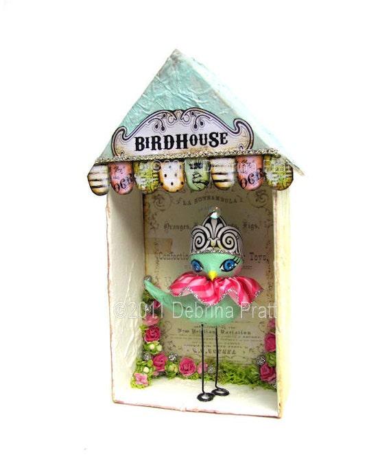 BiRDHouSe oRiGiNaL WHiMSiCaL aRt handmade sculpted bird little house ...