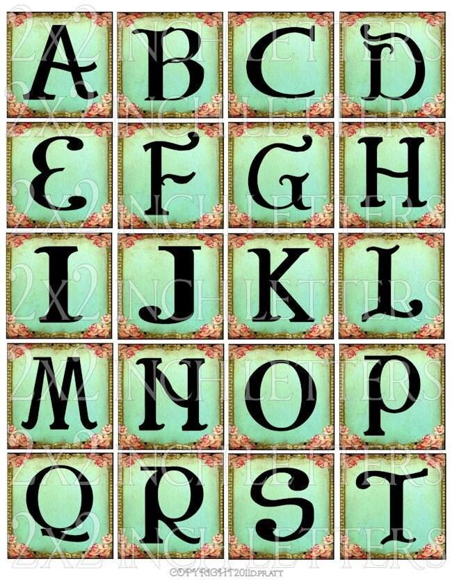 ViNTaGe LeTTeRs aLPHaBeT 2 x 2 inch squares by LandofEnchantment