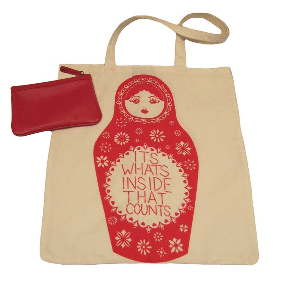 It's What's Inside That Counts Handscreened Cotton Tote with leather purse in red