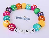 Children's Name Bracelets PERSONALIZED Jewelry Party Favor Infant Child Kid Toddler Makes a great Valentine's Day Gift Colorful Wood Flowers