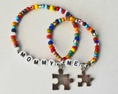 Autism Awareness Personalized Mommy & Me Matching Puzzle Piece Charm Bracelet Set Mother Daughter Father Son Parent Child Matching Set