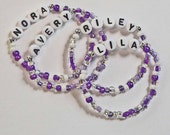 Light Purple Lavender Name Bracelet Personalized Party Favor for Kids Boys styles too Children's Jewelry