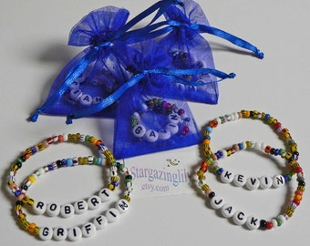 Party Pack of Personalized Party Favors Name Bracelets for Boys or Girls School Valentine Party Gift Stocking Stuffer