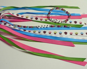 MATCHING SET Personalized Name Ponytail Holder and Bracelet - Cupcake Cutie Pony tail streamer Ribbons on o ring elastic