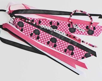 Black Ear Mouse with Hot pink bows Personalized Ponytail Holder & Bracelet MATCHED SET Hot Pink Black Name bracelet pony tail o ring elastic