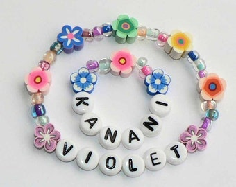 Me and My Doll Bracelet Set PERSONALIZED American Girl Name Bracelet Set Matching Jewelry for Kanani