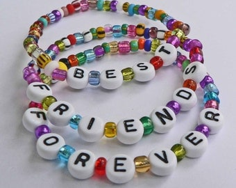 Set of 3 BFF Best Friends Forever Personalized Children's Bracelets Child Kid Adult Sizes