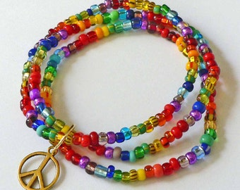Set of 3 CoLoRFuL RAINBOW seed bead bracelets with Gold PEACE sign Charm Child thru Adult Sizes Available