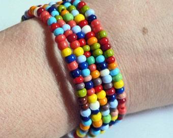 Set of 5 CoLoRFuL RAINBOW seed bead bracelets Child thru Adult Sizes Available
