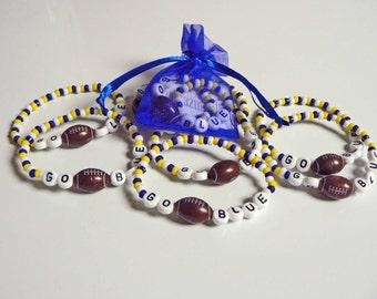 M GO BLUE Spirit Bracelet University of Michigan any college or pro sport team Infant Child Kid Adult Sizes
