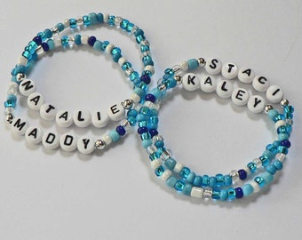 POOL PARTY in Ocean Blue Water Personalized Children's Bracelets Name ID Jewelry Infant Child Kid Adult Sizes Party Favor