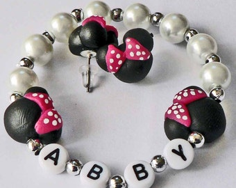 Mini Mouse Personalized Jewelry Bracelet and Earrings Set Hypoallergenic Name Bracelet Children Toddler Kids mini mouse ears