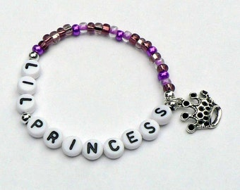 Little Princess Crown Charm Bracelet PERSONALIZED Name Bracelet Jewelry Party Favor Infant Baby Child Kid Adult Sizes