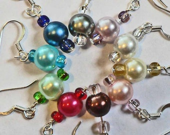 31 Colors to choose from. Hypoallergenic Pearl Earrings Surgical Steel Hook Dangle Earrings CHOOSE YOUR OWN colors