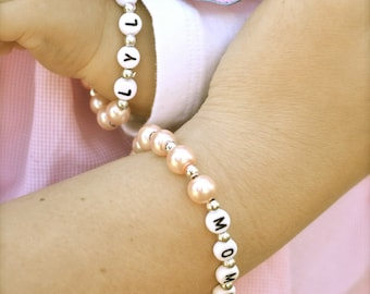 Mother Daughter Set of Personalized Pearl Name Bracelets Mother's Day Gift Baby Shower Gift Princess Crown Charm Mommy & Me Back to School
