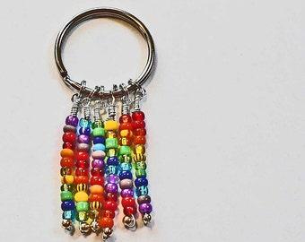 Rainbow beaded Key Ring Keychain Colorful Bright Shiny Beads Native American Traveling Rainbow