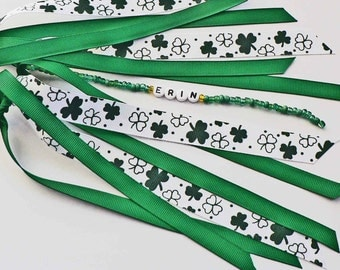 St. Patrick's Day Personalized Ponytail Holder Ribbon Kelly Green Shamrock 4 leaf clover Hair Tie Boutique Bow Ponytail streamer Custom Name