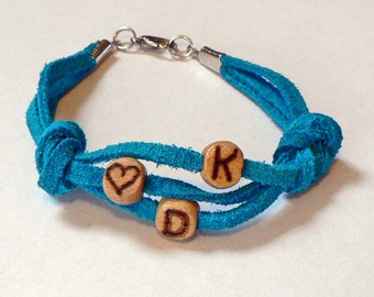 Custom Initials Personalized Wood Letter Bracelet Triple leather wood bracelet Hand burnished beads YOU CHOOSE leather color