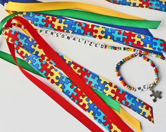 Autism Awareness Personalized Ponytail Holder and Matching Beaded Charm Name Bracelet Set