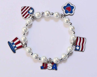 4th of July Independence Day Patriotic Pearl Bracelet Red White n Blue Multi Charm Memorial Day 4th of July Election Year