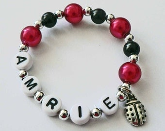Red & Black Pearl and Silver Ladybug Bracelet Personalized Name Bracelet Ladybug Charm Child Jewelry Party Favor Toddler Girls Bracelet