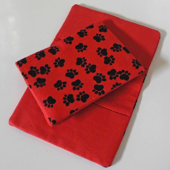 Business Card n Cash Holder Wallet Pouch Red and Black PAW PRINTS