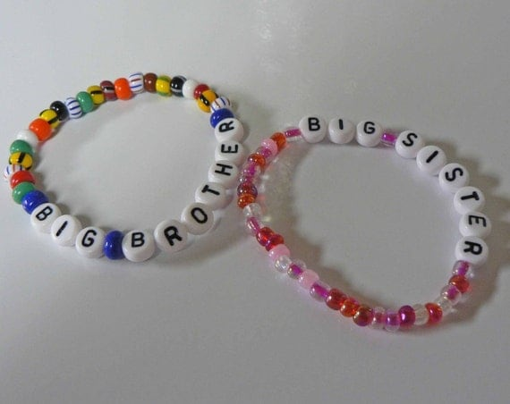 Big Bro Big Sis Personalized Children's Bracelet Jewelry Big Brother Big Sister Middle Brother Middle SIster Little Brother Little Sister