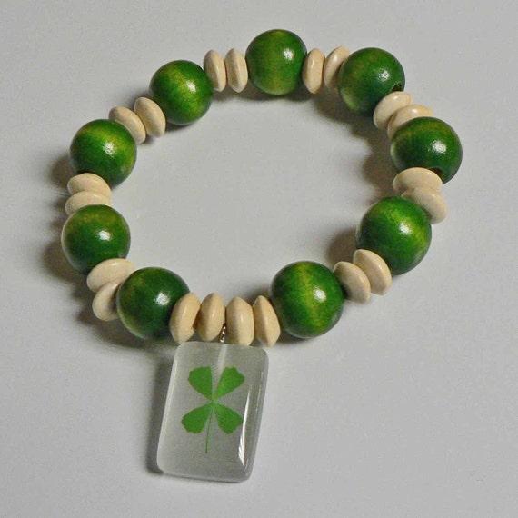 4 Leaf Clover Charm Bracelet Green Wood Ball and White Wood Beads St Patricks Day