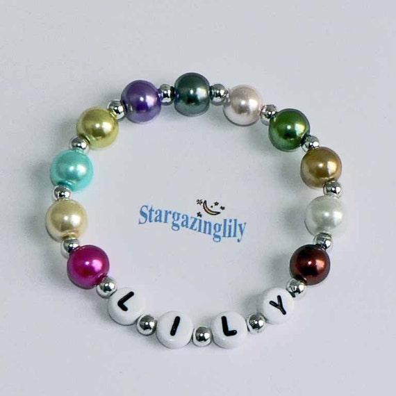 Personalized Children's Name Bracelet Infant Baby Toddler Child Kids Pastel Multi colored glass pearl beaded bracelet