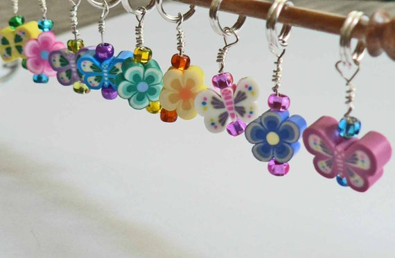 Stitch Markers Set of 6 Colorful Cute & Fun YOU CHOOSE the beads Clay Butterflies and Flowers Stocking Stuffer Gift for a knitter crochet