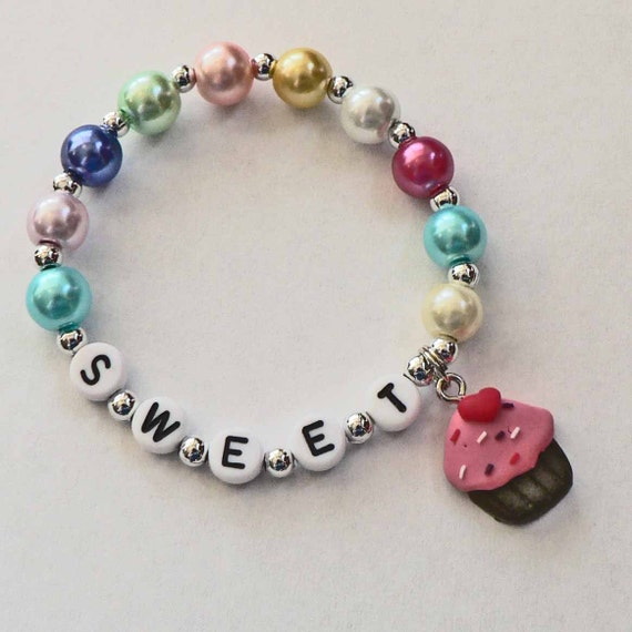 Chocolate Cupcake Charm Bracelet Cupcake Name Bracelet Cupcake Party Favor for Baby Toddler Child and Kids